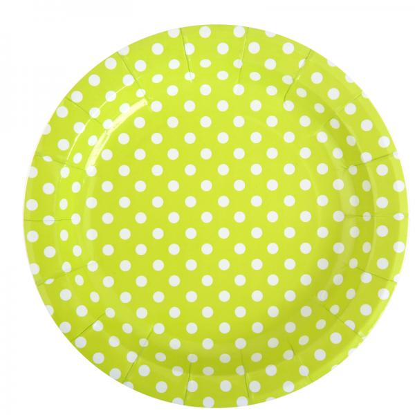 Pappteller Punkte grün