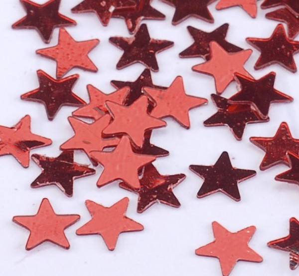 Konfetti Sterne metallic rot
