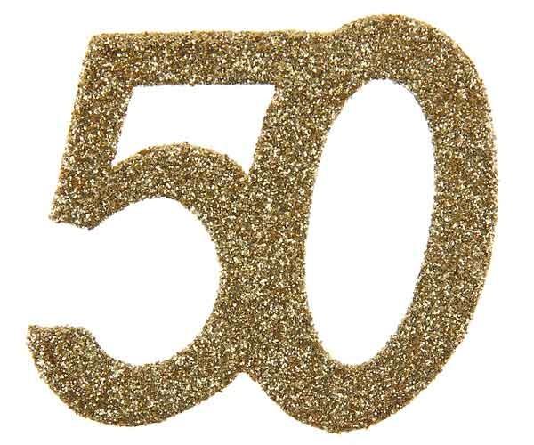 Glitter Zahl 50 gold