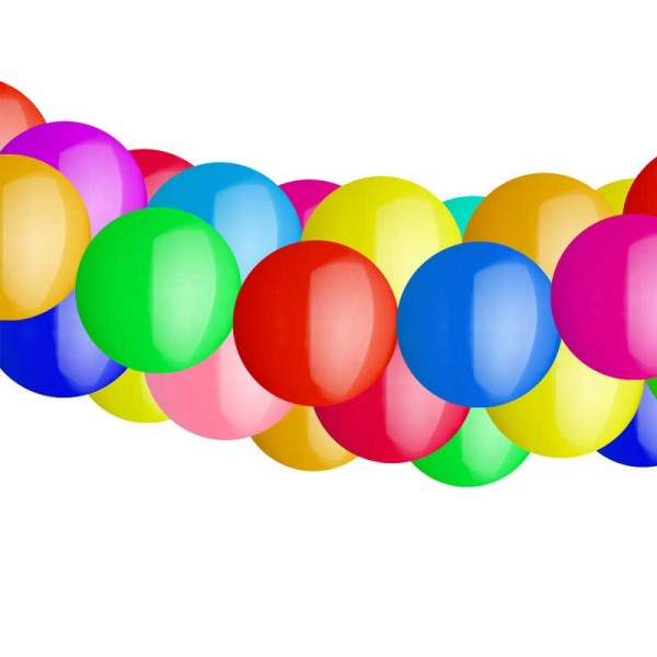 Ballongirlande mit Rundballons - Bunt