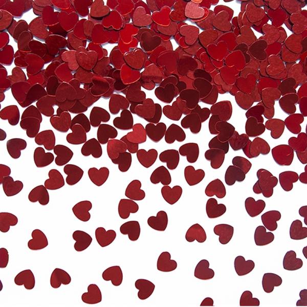 Konfetti Herzen rot metallic 5mm