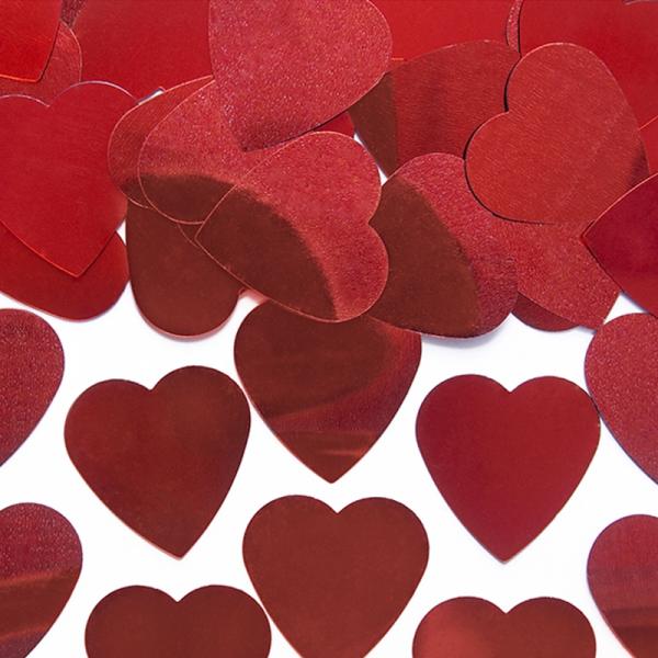 Konfetti Herzen rot metallic 25mm