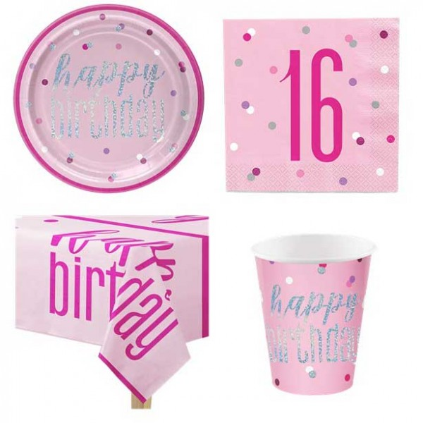 Glitzerndes pinkes 16. Geburtstag - Party Deko Set für 8 Personen
