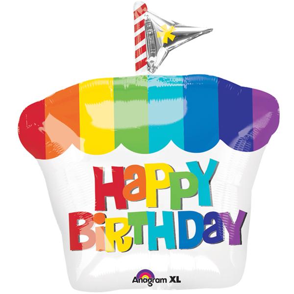 Folienballon - Happy Birthday - Cupcake Regenbogen
