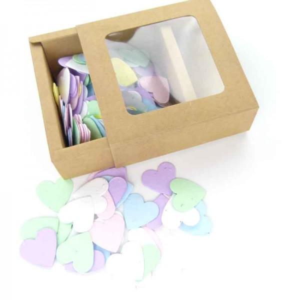 blühendes konfetti herzen bunt geschenk verpackung