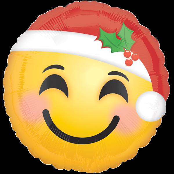 1 Folienballon - Ø 45cm - Weihnachtlicher Smiley