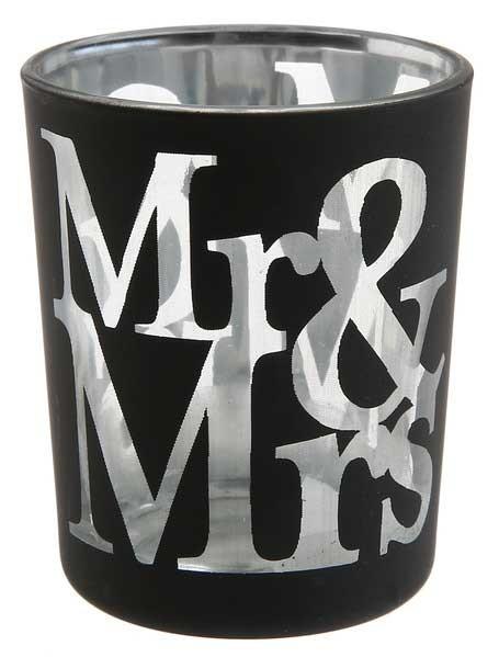 Kerzenbecher Mr & Mrs schwarz