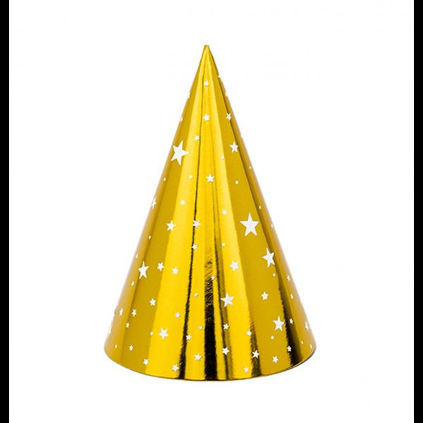 Partyhüte gold mit weißen Sternen