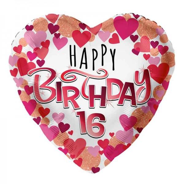 Folienballon Happy Birthday Herz 16