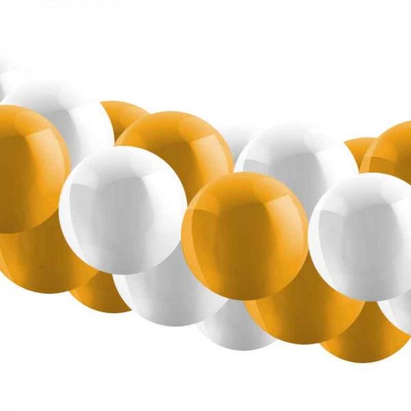 Ballongirlanden Set gold weiss - 5m