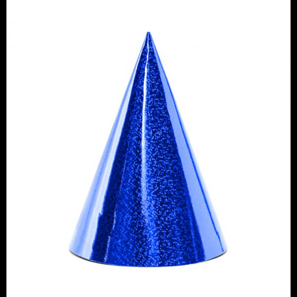 Partyhüte blau holographic
