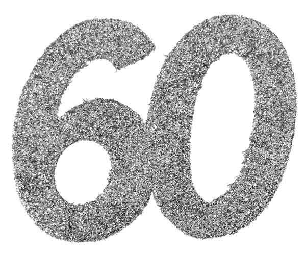 Glitter Zahl 60 silber