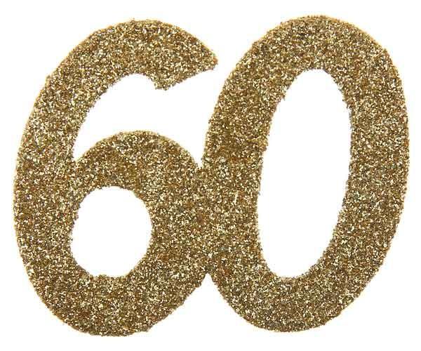 Glitter Zahl 60 gold