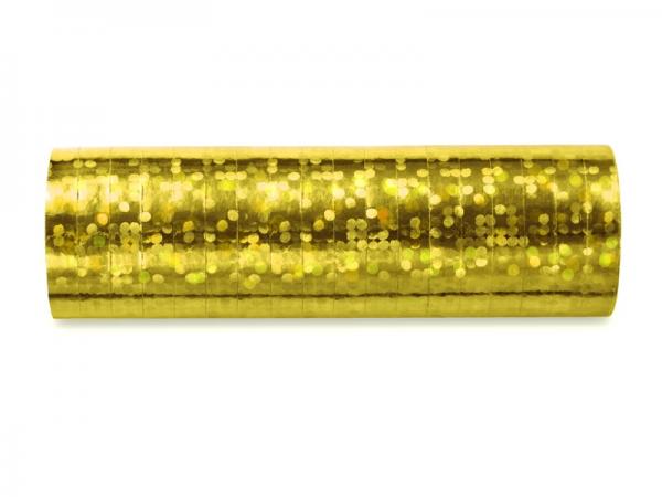 Luftschlangen gold Hologramm