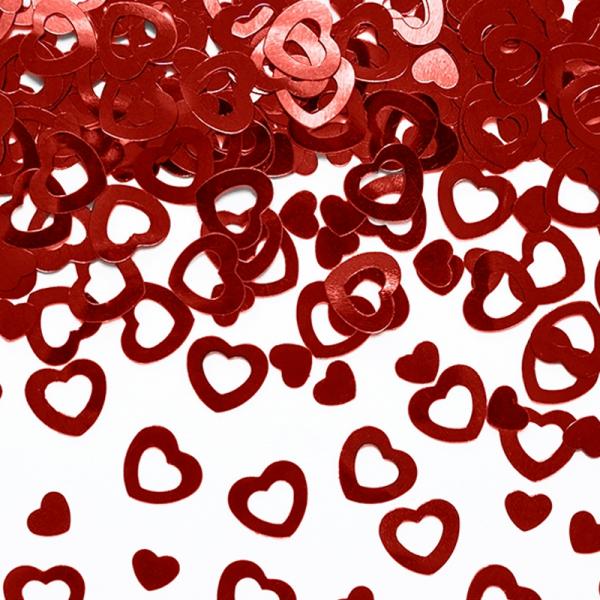 Konfetti Herzen rot metallic