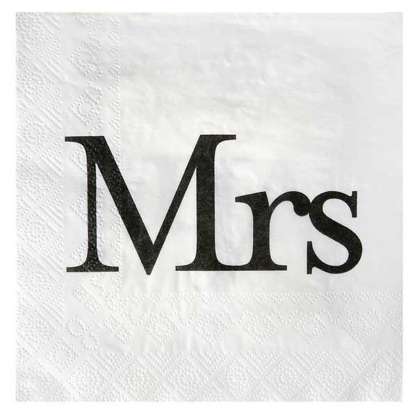 Servietten Mr & Mrs weiß