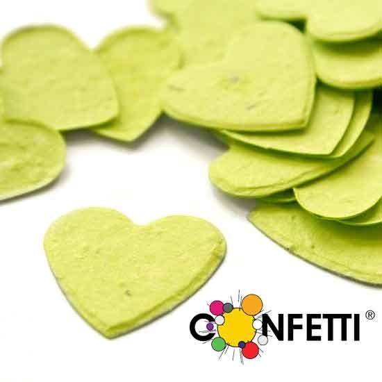 Blühendes Konfetti Herzen limonen grün