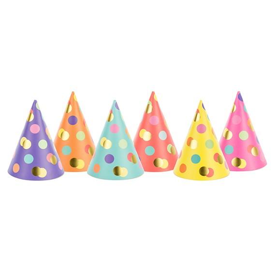 Partyhüte mit metallic Punkten